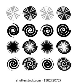 Set of spiral and swirl. Different shapes collection. vector illustration.
