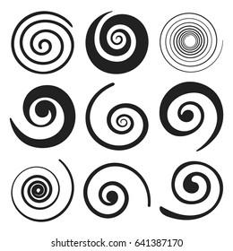 Set of spiral swirl elements. Vector illustration.
