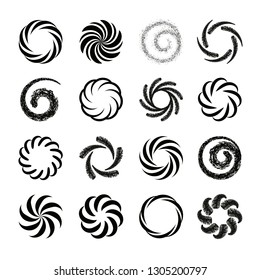 Set of spiral swirl icons, twirl spiral circle, swirling circles, twist curve spiral. Abstract spirals and liquid twirls. Vector design elements.