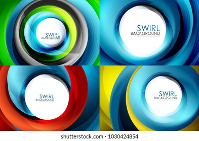Set of spiral swirl line backgrounds, business or techno digital template for presentation or web, multicolored and blue colors