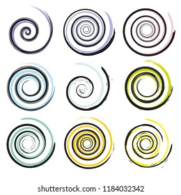 Set of spiral and swirl motion elements, isolated objects. Different brush textures, vector illustrations.