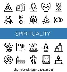 Set of spirituality icons such as Freemasonry, Pastafarianism, Bible, Shiva, Pastor, Prayer, Om, Gothic, Christianity, Eye of ra, Monastery, Candle, Orthodox cross , spirituality