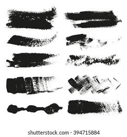 Set of splash and spot grunge banners vector illustration