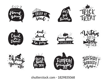 Set of Spooky autumn quote phrases. Hand lettered Halloween phrases. Trick or treat. Pumpking smuggler, hocus pocus, and other.