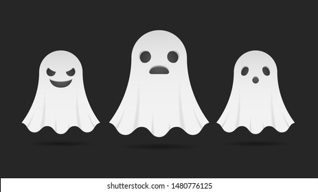 set of spooky ghosts expression face. cartoon ghost for halloween. vector