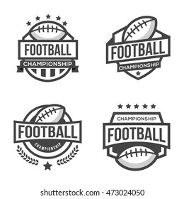 Set of Sport American Football Logo. Black and White. Vintage Style.