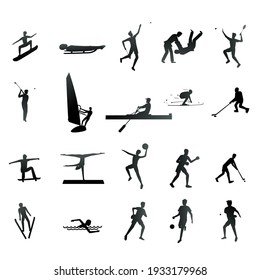 Set of sport and athlete silhouette icons. Vector illustration of sports activities.