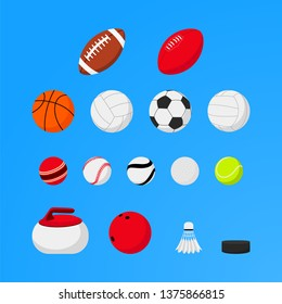 Set of sport balls and attributes. American football, rugby, basketball, volleyball, euro football, golf, tennis, cricket ball, hurling, curling, bowling, badminton, hockey.