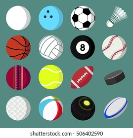 Set of Sport balls icons/symbols. Vector illustration