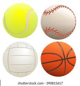 Set of sport balls. Isolated on white illustration