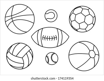 Set of sport balls outline - basketball ball, tennis ball, football ball, rugby ball, volleyball ball, baseball ball, vector art image illustration, isolated on white background eps10