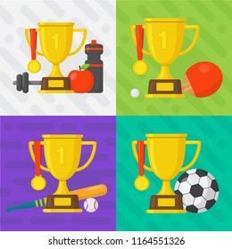 Set of sport banners. Baseball, football, tennis, fitness template. Gold winner champion cup with medal. Vector design illustration. Flat style icon.