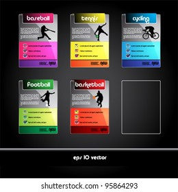 set of sport banners and tags