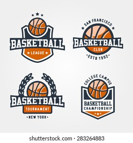 Set Of Sport Basketball Badge Logo Templates, Collection Of Sport T-Shirt Graphics