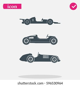 Set of sport car icons. Retro sport cars illustration.