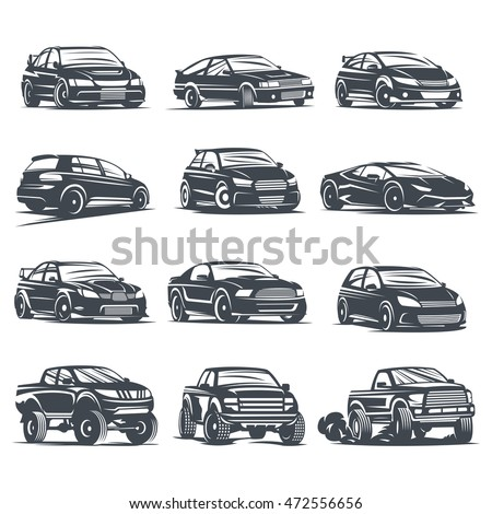 Set Sport Car Monochrome Labels Emblems Stock Vector Royalty Free