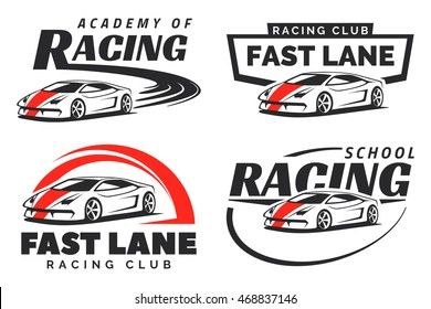 Set of sport car racing logo, emblems and badges isolated on white background. Racing driving school or academy design elements. Supercar or a sports car illustration. Vector.
