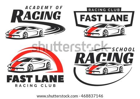 Set Sport Car Racing Logo Emblems Stock Vector Royalty Free