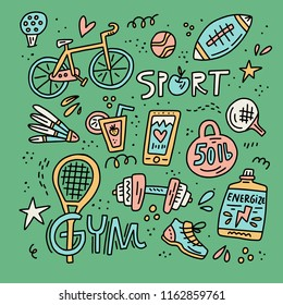Set of sport elements made in doodle style in vintage colors with lettering