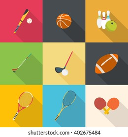 Set of sport equipment. Flat design with long shadows.
