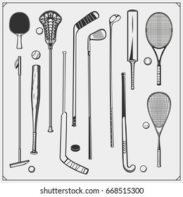 Set of Sport equipment. Polo, ping pong, lacrosse, baseball, cricket, golf, squash, hockey and tennis.