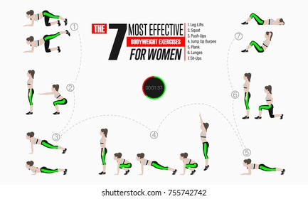 Set of sport exercises. Exercises with free weight. Leg lifts, Squats, Push-Ups, Burpee, Plank, Lunges, Sit-Ups. Illustration of an active lifestyle. Vector.