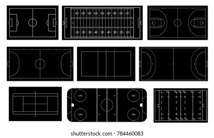 Set of sport field. Handball, basketball, volleyball, tennis, futsal and mini football court. Ice hockey rink. Rugby,  soccer, american football field. Black and white vector.