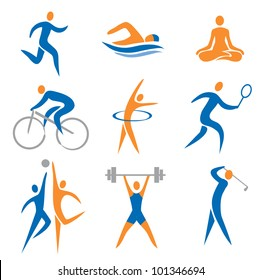 Set of sport, fitness icons. Vector illustration.