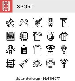 Set of sport icons such as Inversion therapy, Golf, Target, Medal, Punching ball, Sport, Net, Sport shirt, Golf bag, Shirt, Hot air balloon, Goals, Polo shirt, Trophy ,