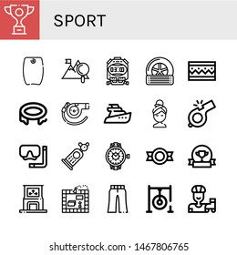 Set of sport icons such as Trophy, Bodyboard, Mountain, Stopwatch, Tyre, Bracelet, Trampoline, Whistle, Yatch, Relax, Diving mask, Car, Watch, Medal, Award, Dance, Board game , sport