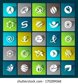 Set of sport lifestyle fitness web icons flat vector with shadow effect for web design objects and items for mobile devices and interfaces. Graphic Design Editable For Your Design.