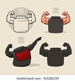 set sport nutrition icon, love fitness, health, idea for logo, sport nutrition shop concept, gym, power, strong hands, vector illustration