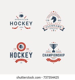 Set of sport objects in vintage silhouette style. Hockey and horse race elements.