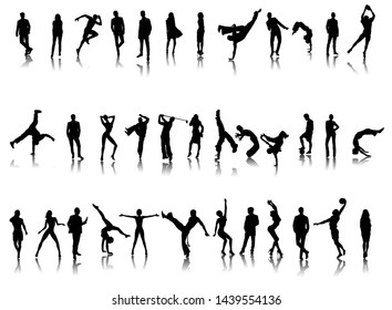 set sport and office work people motions play running dance business silhouettes