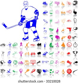 Set of sport sketches. Part 4. Isolated groups and layers. Global colors.
