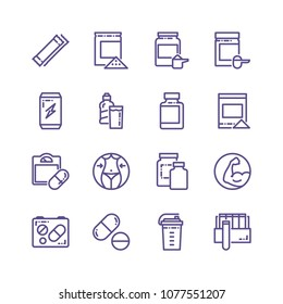 Set of Sport Supplements Related Vector Line Icons