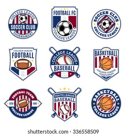Set of sport team logo templates. Soccer, football, baseball, basketball labels