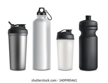 Set of sport or touristic water bottles and plastic drinking cups of different shapes and sizes 3d realistic vector mockup illustration isolated on white background.