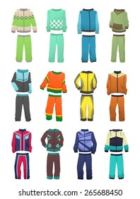 Set of sport tracksuits for boys isolated on white background
