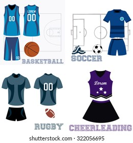 Set of sport uniforms and some elements for different sports