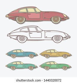 Set of Sport Vintage Car in Different Colors