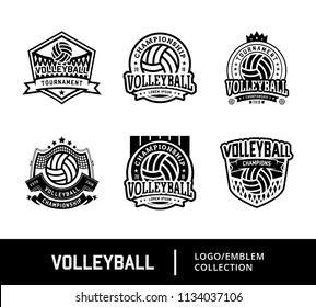 Set of Sport Volley Logo, Volleyball sport logo in black and white