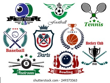 Set of sporting emblems and badges in various shapes and designs for tennis, football, baseball, darts, ice hockey, pool, bowling, and table tennis