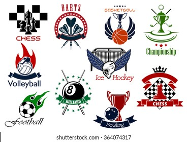 Set of sporting emblems or icons representing different sports and championships. Chess, darts, golf, basketball, volleyball, ice hockey, bowling, pool, soccer and football icons included