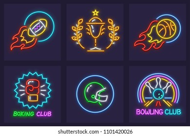 Set of sporting neon icons. Balls and helmet for american football game, basketball, glove for boxing, gold cup for winner in championship and bowling club sign. EPS10 vector illustration.