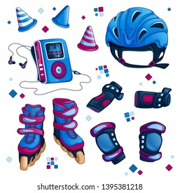 Set of sports accessories for roller skating. Helmet, roller skates, knee pads, protective gloves, dividing chips for slalom. Cartoon vector items.