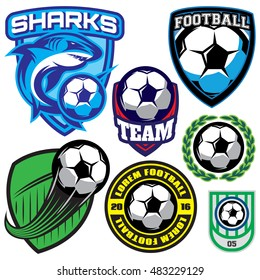 set of sports badge with a soccer ball and shark for the team, colored vector illustration
