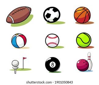 Set of Sports Balls doodle