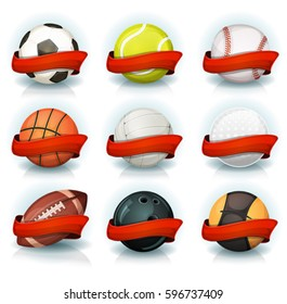 Set Of Sports Balls With Red Banners. Illustration of a set of popular sports balls and equipment, for football, soccer, rugby, tennis, volleyball, with red banners for teams and clubs emblems