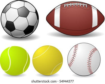 Set of Sports Balls - vector illustration